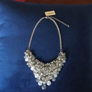 Silver Tone and White Bib Necklace